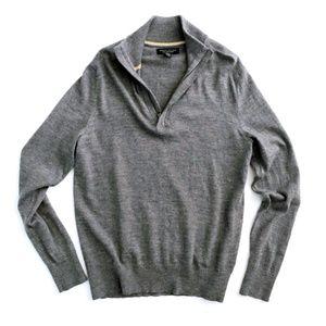 Banana Republic Grey Merino Wool Half Zip Sweater